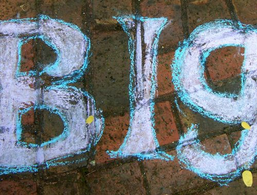 "The word ""big"" chalked onto bricks"